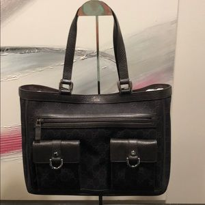 💝New Gucci Denim GG with leather Accents Tote Bag